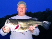 Bob with his first night bass of 2012 fishing with me