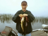 Amanda with a Wordens Pond largemouth bass
